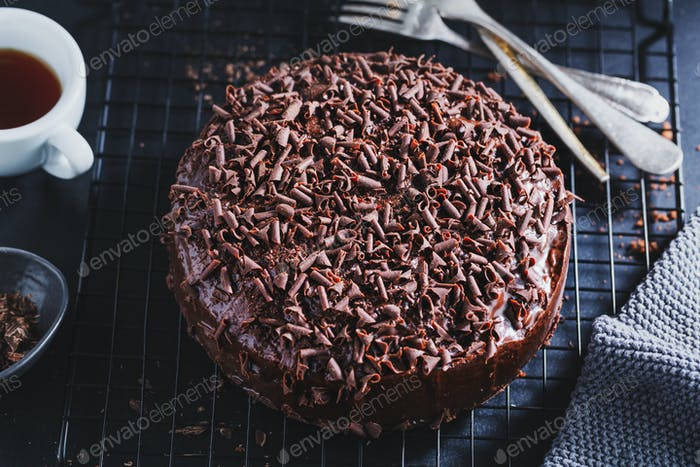 Chocolate cake with chocolate chunks