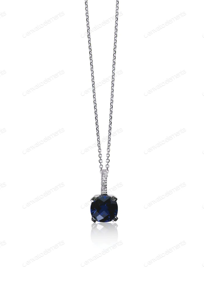 Dark blue sapphire drop necklace