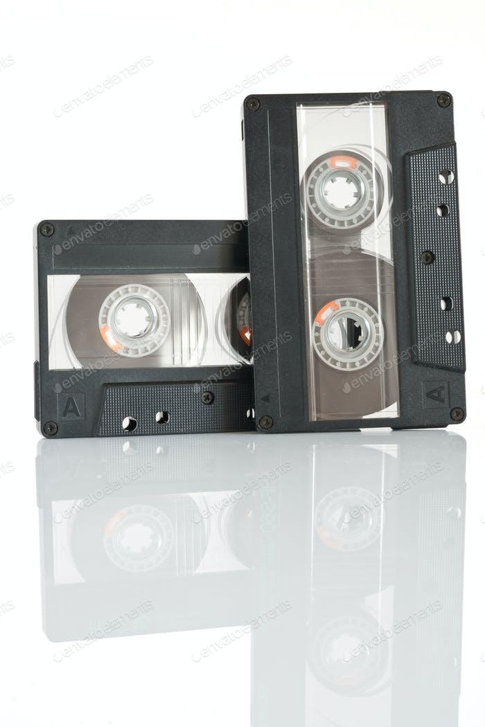 two cassette tapes isolated