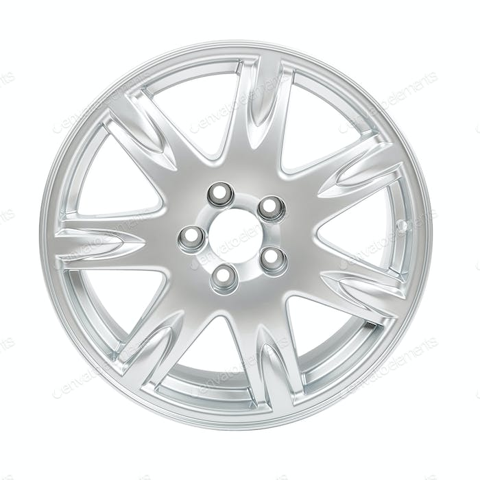 car alloy wheel isolated on white