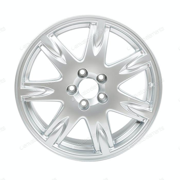 car alloy wheel isolated on white