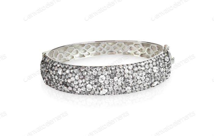 Crystal Diamond Wide Bangle Bracelet
