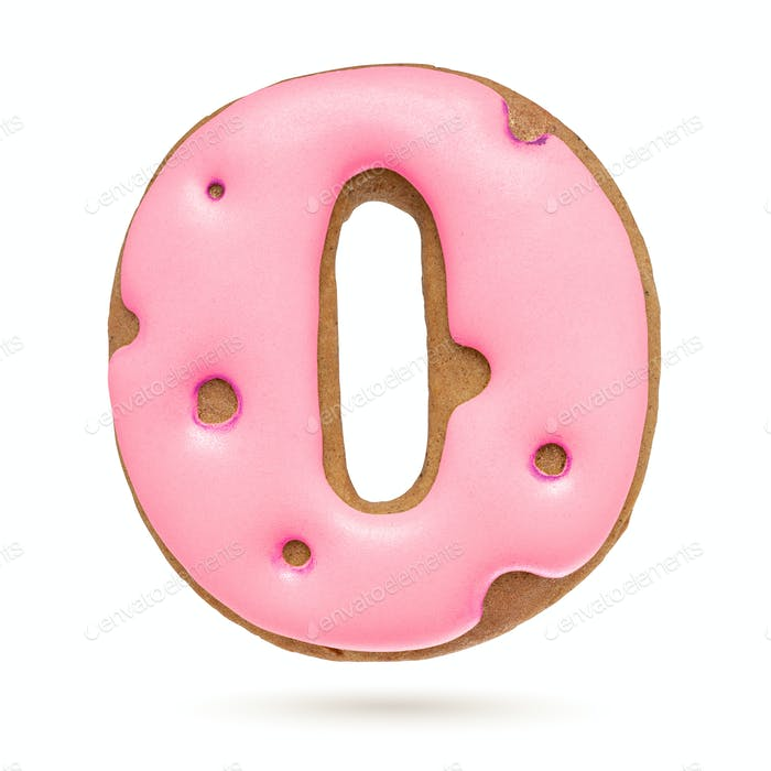 Capital letter O. Pink gingerbread biscuit isolated on white.