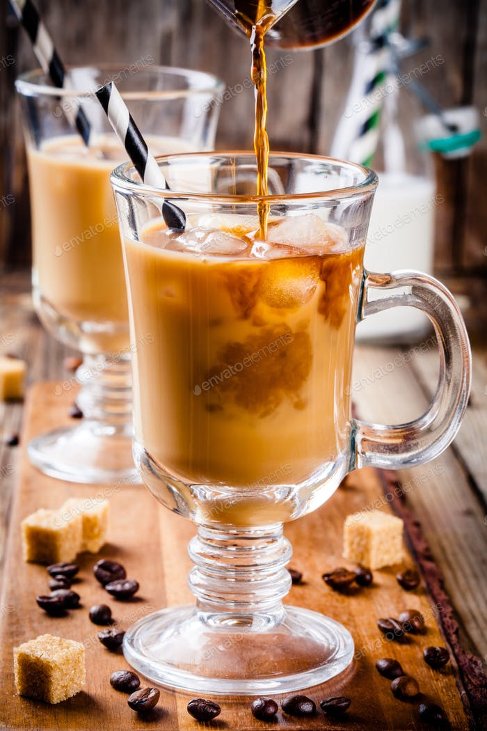 Iced coffee in mugs