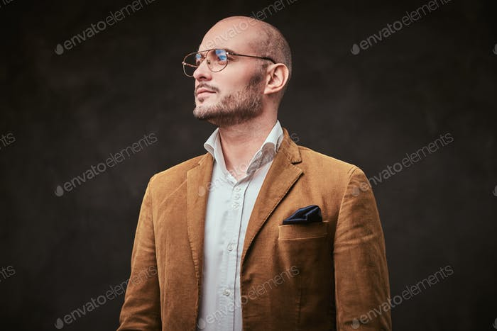 Thumbnail for Successfull well-dressed mature bald businessman posing for camera in a dark studio
