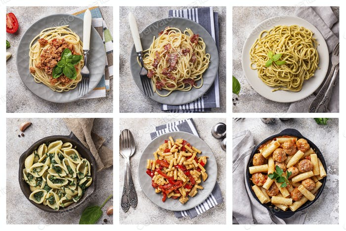 Collage with different pasta dish