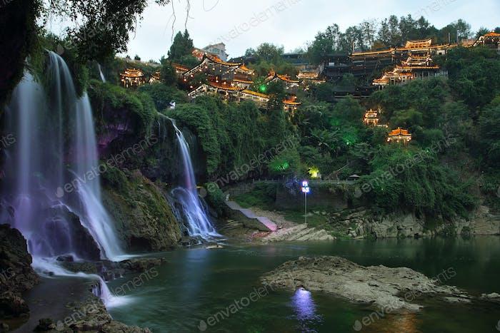 Furong (Hibiscus) ancient village at night