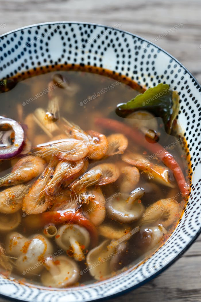 Bowl of thai tom yum soup