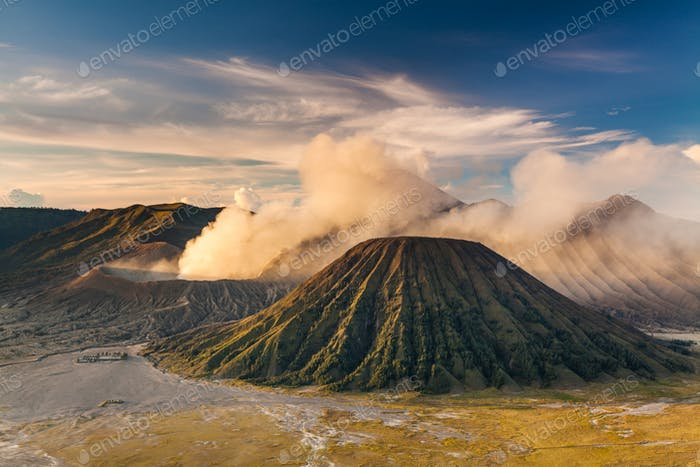 Sunrise at Mount Bromo volcano, the magnificent view