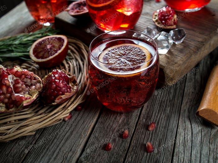 Blood orange and pomegranate cocktails