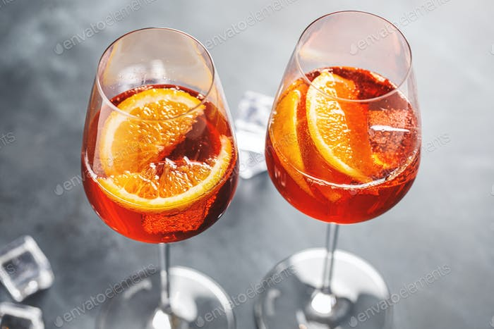 Aperol spritz served in glasses