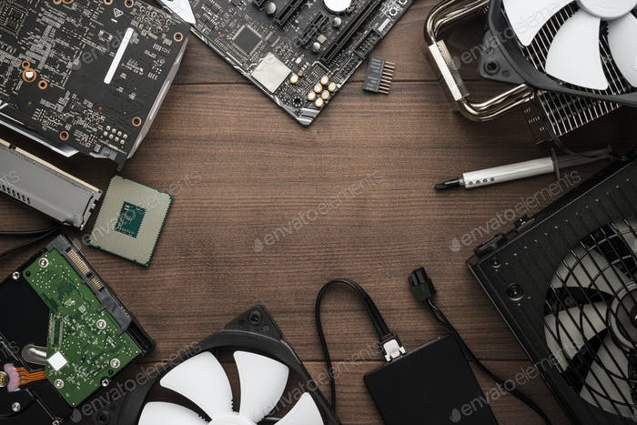 Cpu And Other Computer Parts On The Table