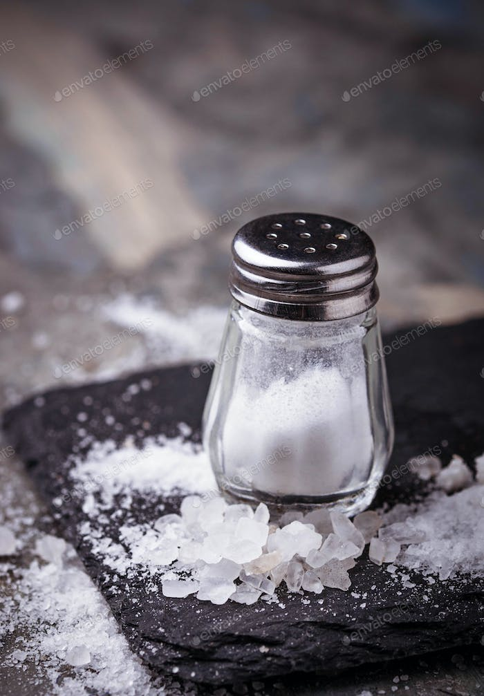 White salt in shaker