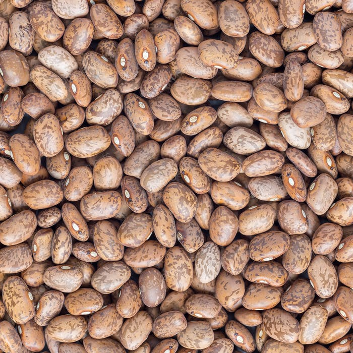 Uncooked dry pinto beans on a gray concrete background, top view, square format