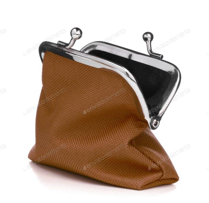 Braune Geldbörse isoliert auf weißem Hintergrund. Ladung Geldbörse Öffnen Sie leere Geldbörse..