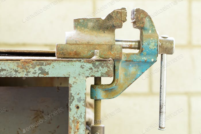 Old bench metal vise.