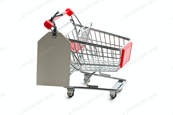 price tag on shopping cart