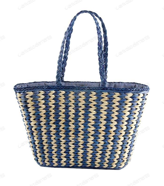 Blue striped basket tote