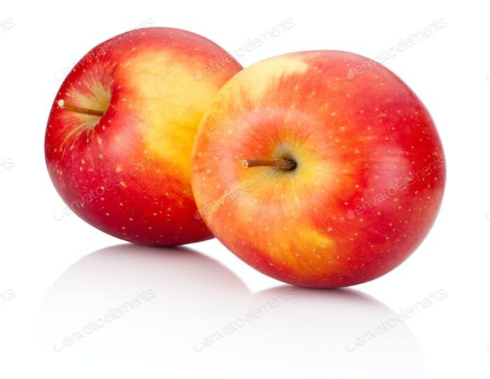 Zwei rote Äpfel Früchte auf weißem Hintergrund