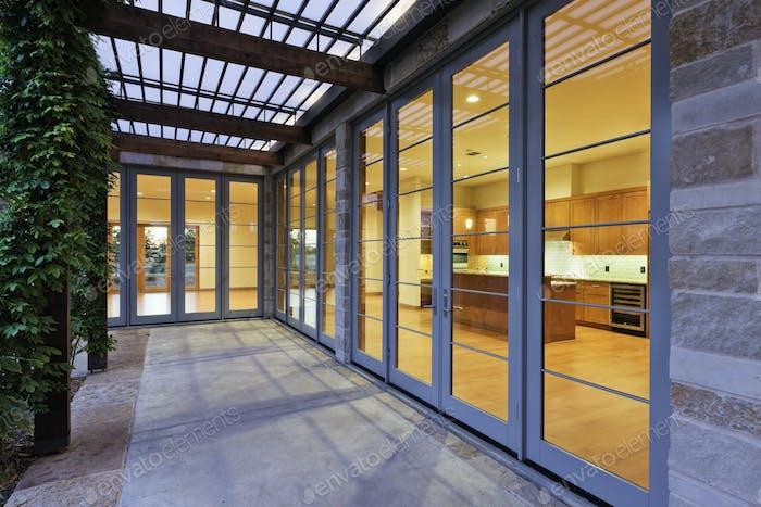 Modern Home Kitchen Through Glass Doors