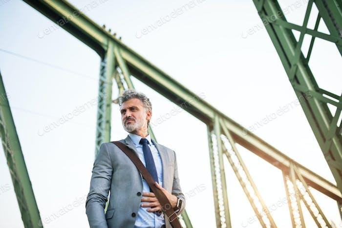 Hombre de  Empresario maduro en una Ciudad.