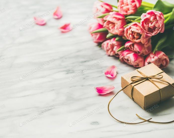 Valentinstag Urlaub Hintergrund Blumenstrauß rosa Tulpen