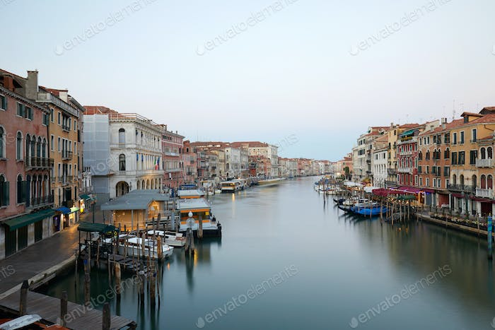 Grand Canal in Venice, clear sky in summer in Italy, nobody