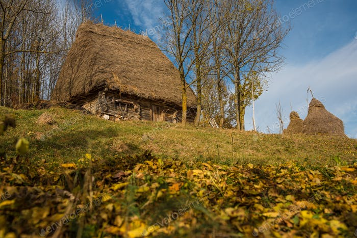 Wooden barn in the autumn with thatched roof. Transylvania, Romania