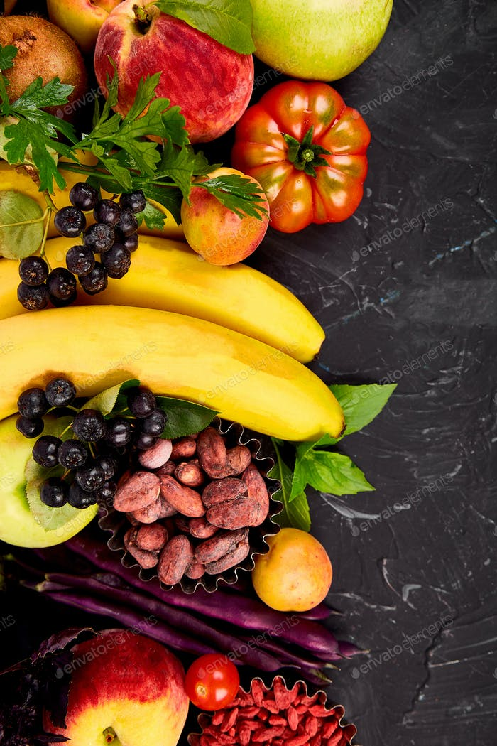 Healthy colorful food selection: fruit, vegetable, seeds, superfood
