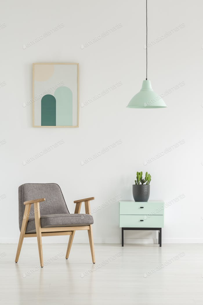 Grey wooden armchair next to cabinet with plant in white apartme