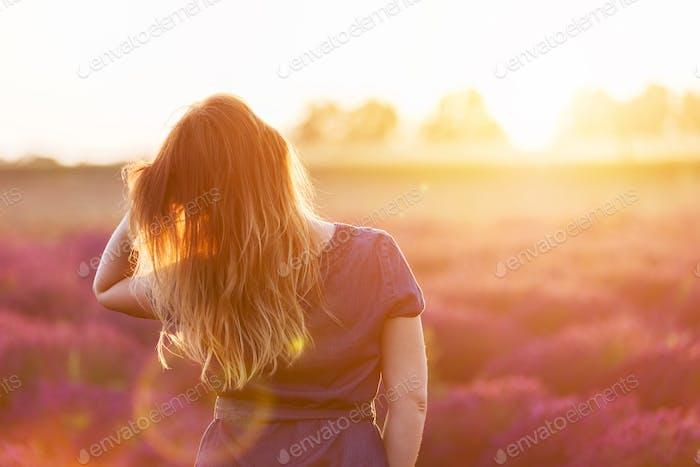 Junge Frau berühren ihre lange düstere Haare Blick auf Lavendelfeld bei Sonnenuntergang