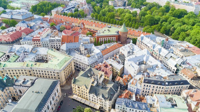 Top view on the old town with beautiful colorful buildings in Riga city
