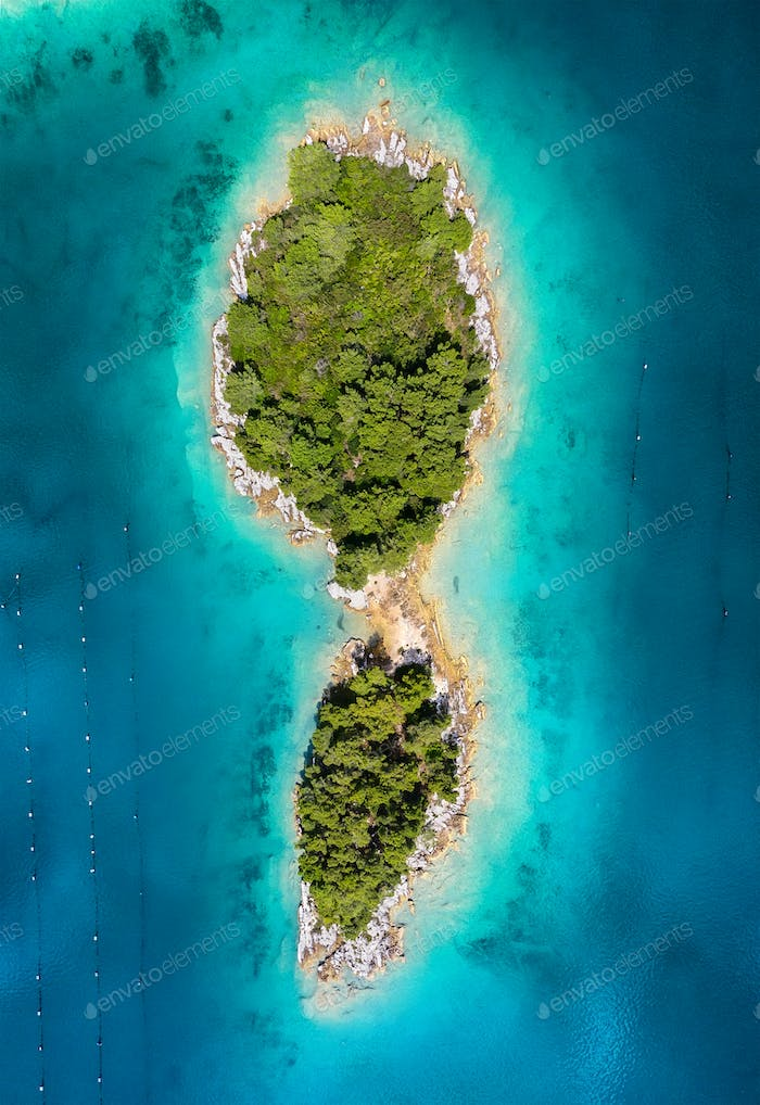 Aerial view on islands and sea in the Croatia