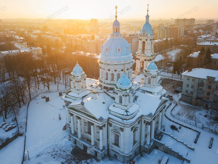 Aerial view of the Trinity Orthodox Cathedral. Sumy, Ukraine