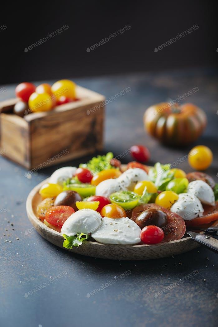 Healthy salad with mozzarella