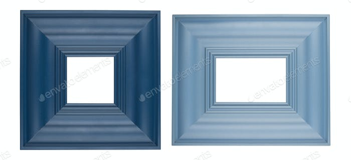 two blue square picture frames