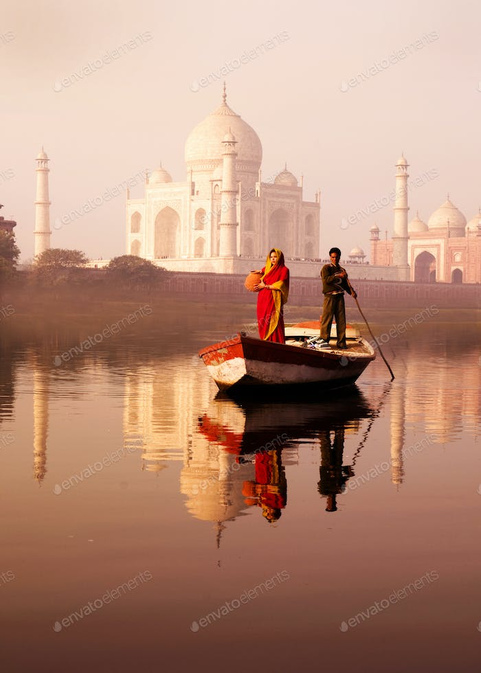 Indigenous Indian Man And Woman On The Boat And A Taj Mahal In T