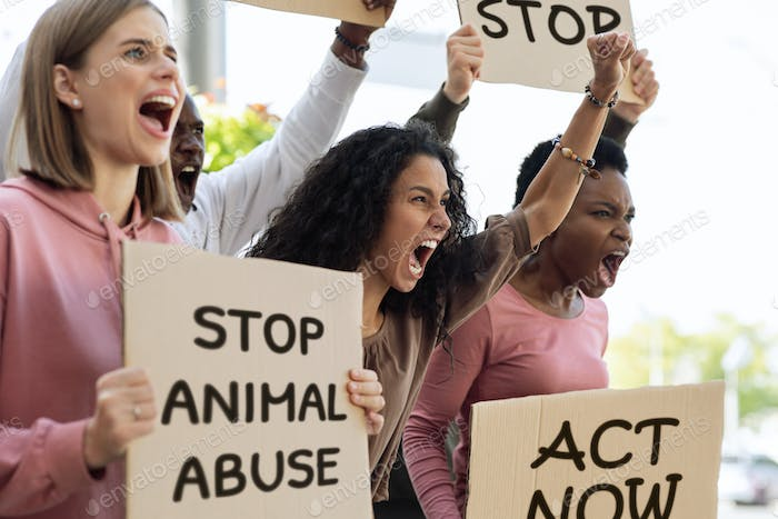 International group of strikers with banners, defending animal rights