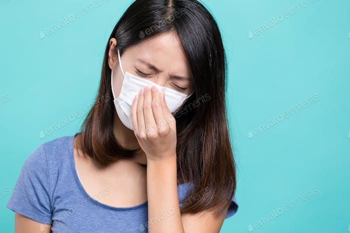 Woman getting sick