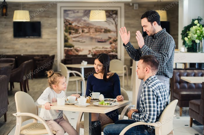 Thumbnail for family, parenthood, technology, people concept - happy mother, father and little girl having dinner