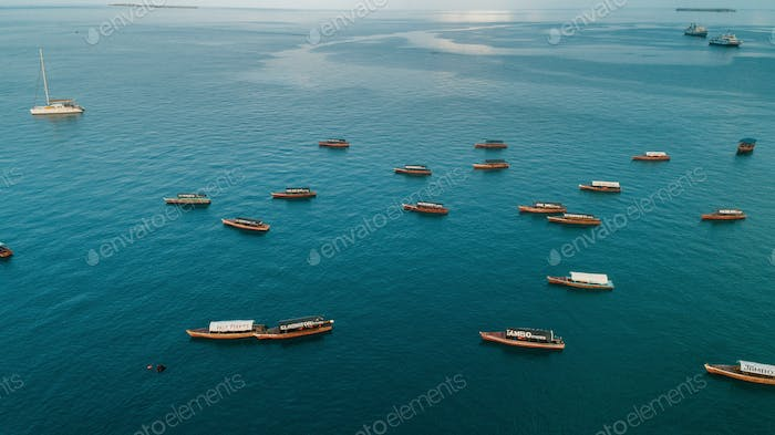 aerial view of the boats and dhow,  stone town in Zanzibar