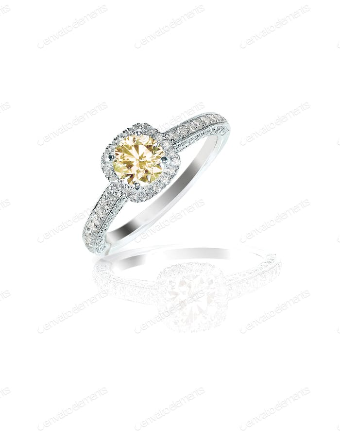 cognac diamond wedding bridal engagement ring in halo setting