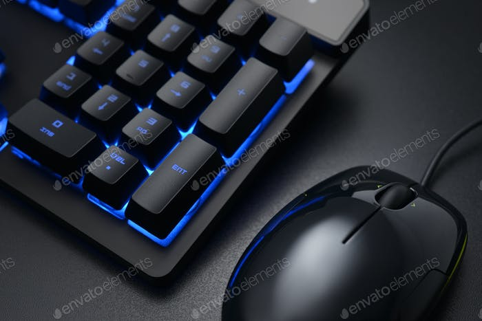 Black keyboard and wired mouse