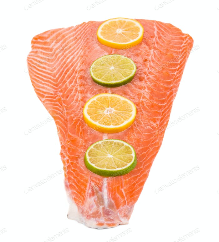 Fresh salmon fillet with lemon.