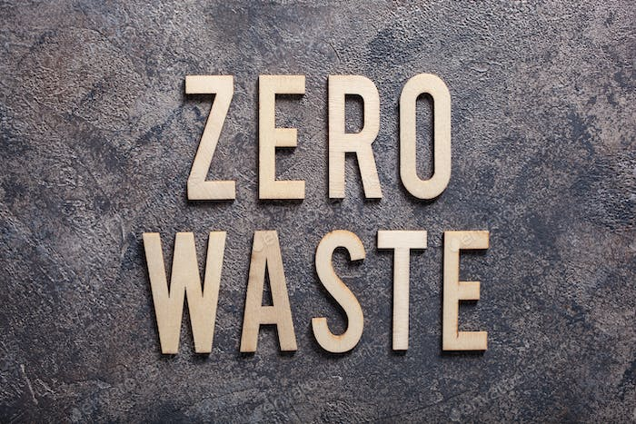 zero waste word text wooden letters on concrete background