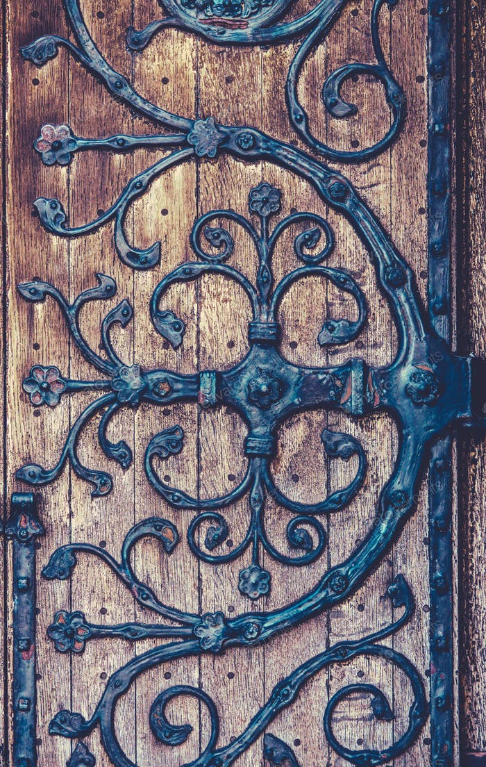 Ornate Wrought Iron Hinge Detail