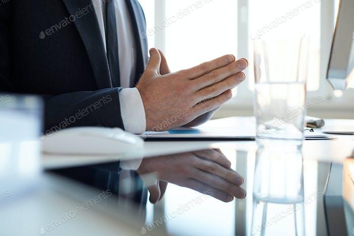 Hands of businessman