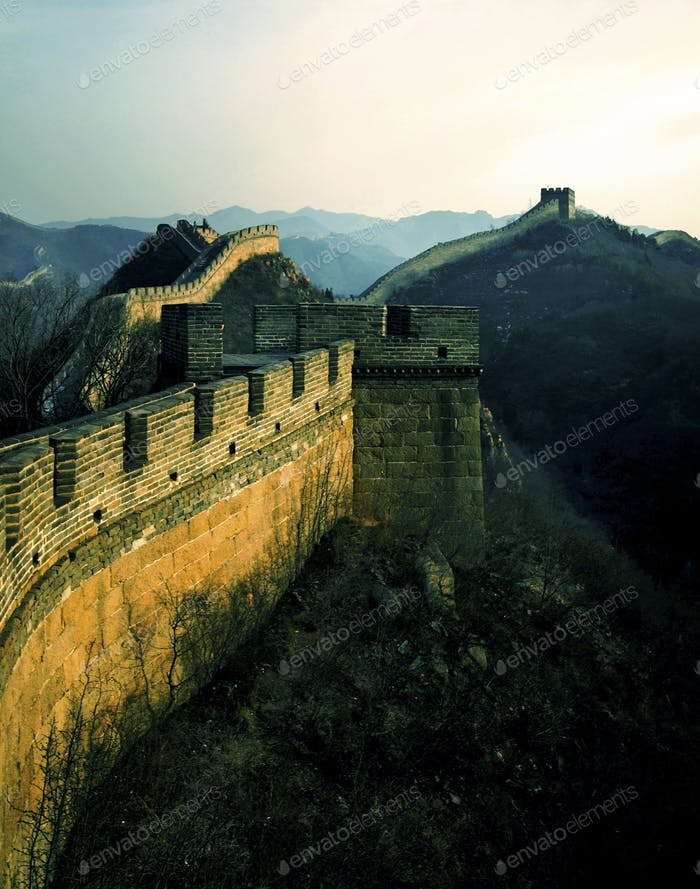 Great Wall China Sunrise Badaling Beijing Tourism Concept