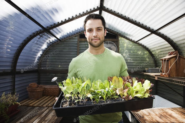 HIspanic man with new plants for the greenhouse.