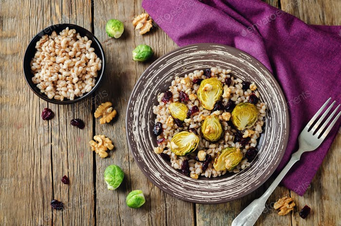 Roasted Brussels sprouts dried cranberries walnuts barley salad